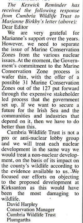 Reply from Cumbria Wildlife Trust to Marianne Birkby - Nuclear Developments - dodging the issue