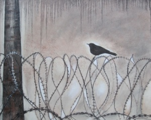 Bird on a Wire at Sellafield by Marianne Birkby - painted in Egremont Red oil and charcoal  - for sale -donation to Radiation Free Lakeland
