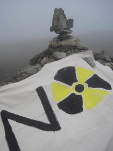 No Nukes - banner on Kentmere Horseshoe