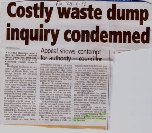 Costly Keekle Head Inquiry Condemned - West Cumbrian edition of News and Star 28.6.13