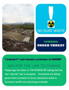 Flyer and Letter to Tim Farron MP - Radioactive Landfill