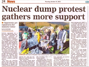 Nuclear Dump Protest Gathers More Support 17.10.13 Westmorland Gazette