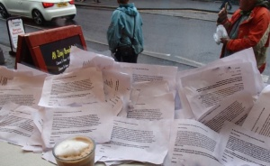 No Nuke Dump Letters to Ed Davey Drying out In Ambleside Cafe