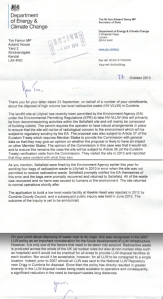 Letter from DECC- Lillyhall Radioactive Waste Dump