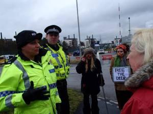 Sellafield Police and Protestors