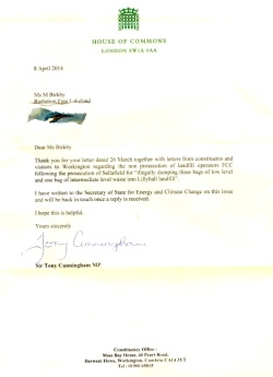 Letter from Sir Tony Cunningham - Lillyhall Landfill