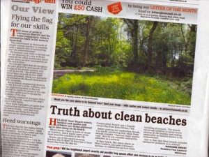 Truth About Clean Beaches - NW Evening Mail July 5th 2014