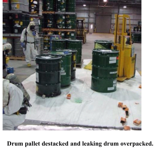 Nuclear Waste drum leak, protective gear, metal shed