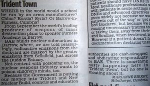 'Trident Town' - Daily Mail Letter 1st May 2015