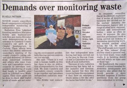 Demands over Monitoring Radioactive Waste. Cumberland News 5.6.15