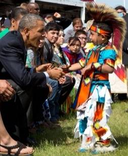 Obama greets boy at Standing Rock Sioux Reservation, Cannon Ball, ND, 13 June 2014, Off. Wh. House photo by Pete Souza