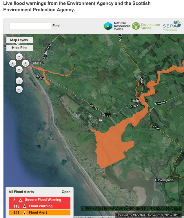 DRIGG FLOOD MAP 30th Dec 2015