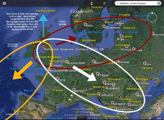 Windscale, Sellafield, Moorside UK fallout plume estimate