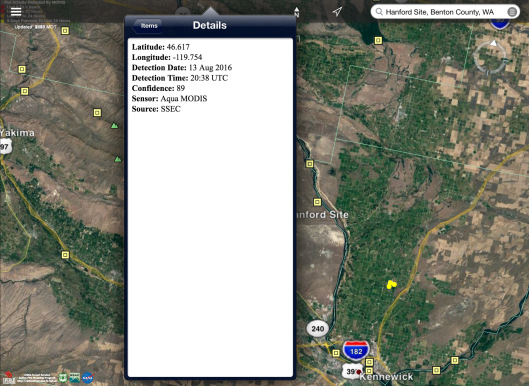 Hanford area fires August 13 2016  coordinates