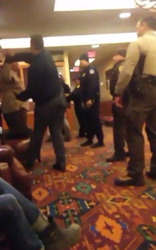Madrigal-Alcaraz Enrique Kurthland  video Standing Rock Casino man grabs American Indian with hands up by arm